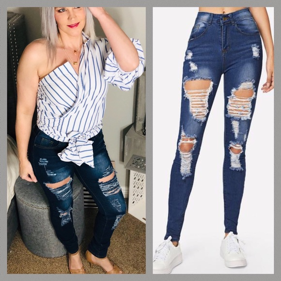 Denim - Distressed High Rise Skinny Jean